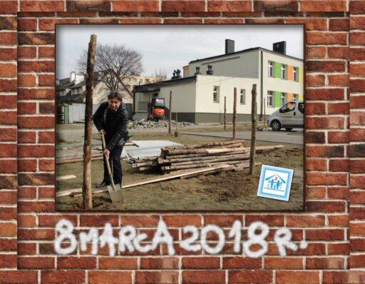 """8 marca 2018 r. - rozpoczęcie budowy """"przewiązki"""" łączącej dwa budynki szkoły."""