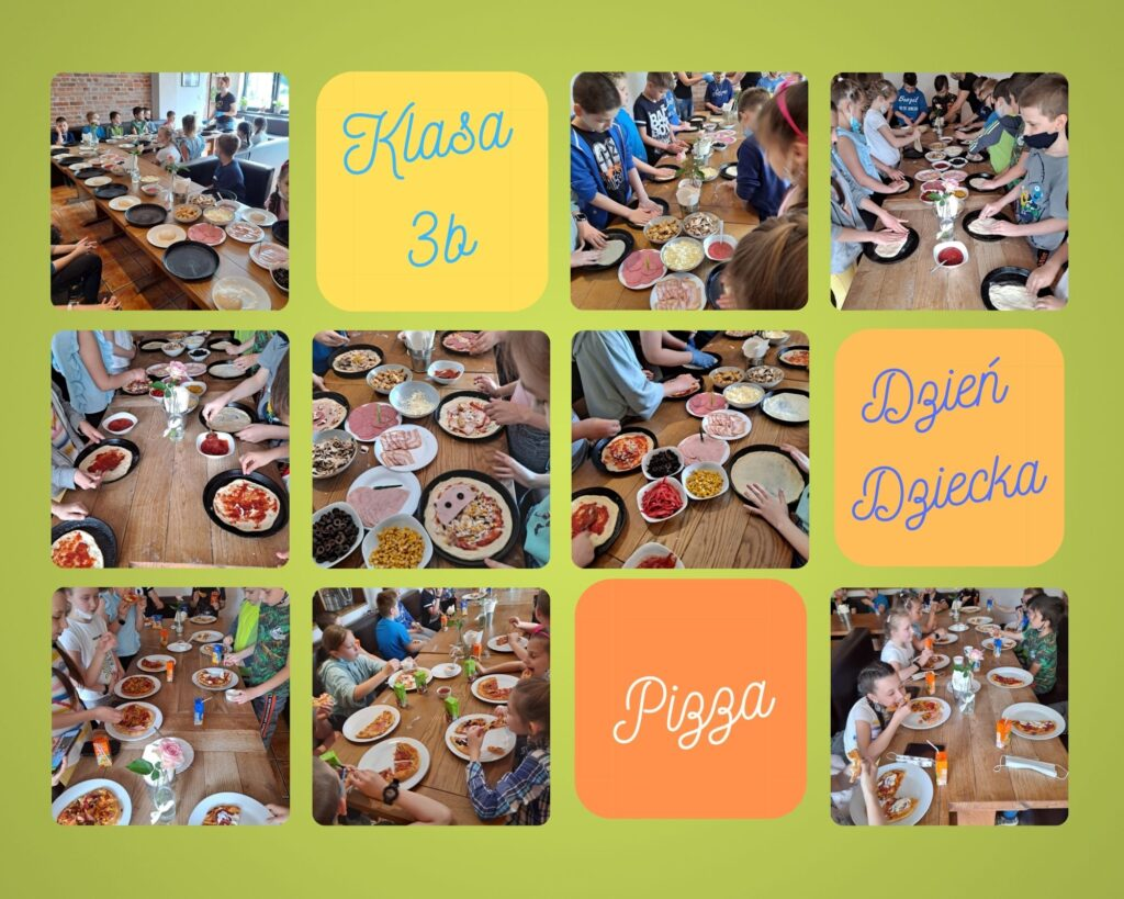 zdjęcia ilustrujące wizytę dzieci w pizzerii